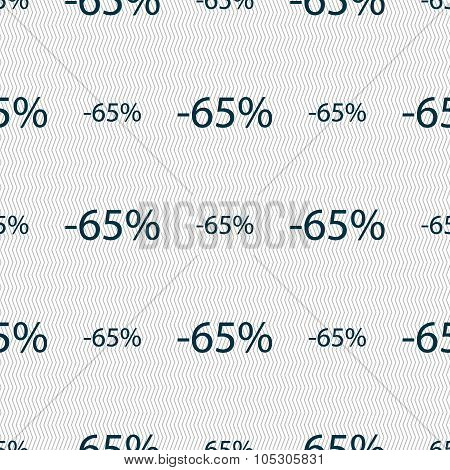 65 Percent Discount Sign Icon. Sale Symbol. Special Offer Label. Seamless Abstract Background With G