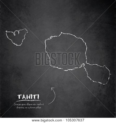 Tahiti map blackboard chalkboard vector French Polynesia