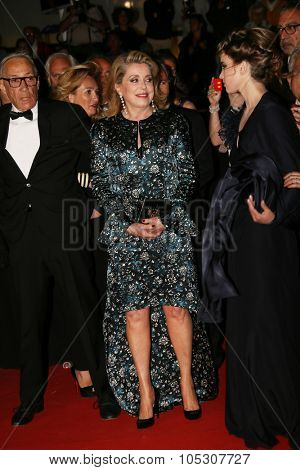 CANNES, FRANCE - MAY 21: Catherine Deneuve  attends 'L'Homme Qu'On Aimait Trop' premiere during the 67th Annual Cannes Film Festival on May 21, 2014 in Cannes, France.