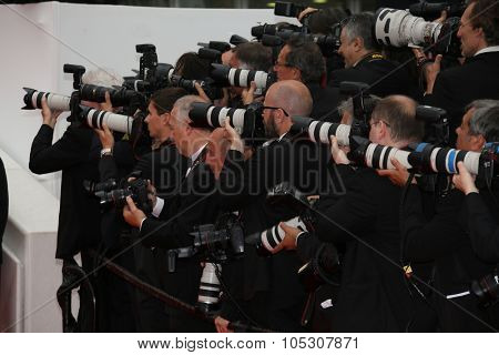 CANNES, FRANCE - MAY 22: Photographer attends the 'Jimmy's Hall' premiere during the 67th Annual Cannes Film Festival on May 22, 2014 in Cannes, France.