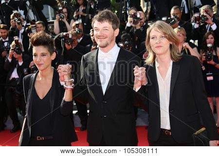 CANNES, FRANCE - MAY 24:  Claire Burger,  Samuel Theis attend the Closing Ceremony and 'A Fistful of Dollars' Screening during the 67th Annual Cannes Film Festival on May 24, 2014 in Cannes, France.