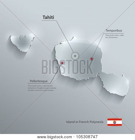 Tahiti map flag glass card paper 3D vector French Polynesia