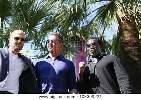 CANNES, FRANCE - MAY 18:  Jason Statham,  Sylvester Stallone,  Wesley Snipes attend a photocall for 'The Expendables 3' at the Carlton Hotel on May 18, 2014 in Cannes, France.