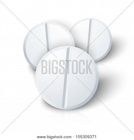 Set of Photorealistic Medicine Pill Isolated on White Background