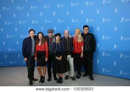 BERLIN, GERMANY - FEBRUARY 05:   Daniel Bruehl, Darren Aronofsky, Audrey Tautou,   attend the Jury photo call during the 65th Berlinale Festival at Hotel Mandala on February 5, 2015 in Berlin, Germany