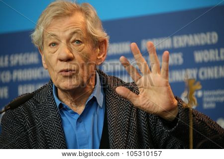 BERLIN, GERMANY - FEBRUARY 08: Ian McKellen attends a press conference of the film 'Mr Holmes' presented in the competition of the 65th Berlin Festival Berlinale in Berlin, on February 8, 2015.