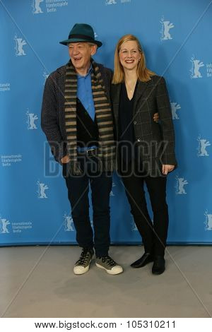BERLIN, GERMANY - FEBRUARY 08: Laura Linney and Ian McKellen attends a photocal of the film 'Mr Holmes' presented in the competition of the 65th Film Festival Berlinale in Berlin, on February 8, 2015