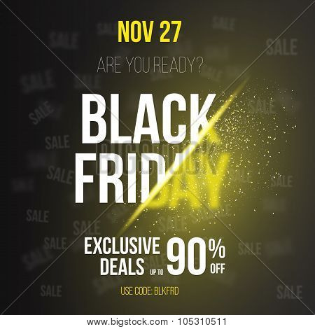 Black Friday Sale Vector Exlosion Poster Template. Huge November