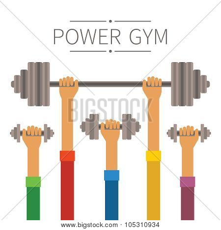 Raised Hands With Power Gym Equipment Concept In Flat Style