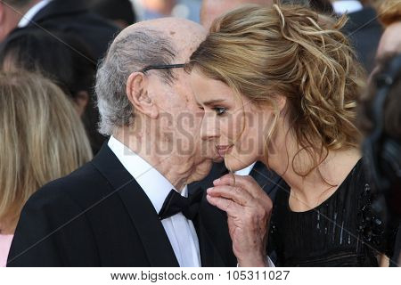 CANNES, FRANCE - MAY 13:  Manoel de Oliveira, Pilar Lopez attends the 'On Tour' Premiere at the Palais des Festivals during the 63rd Cannes Film Festival on May 13, 2010 in Cannes, France.