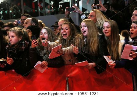 BERLIN, GERMANY - FEBRUARY 14:  Fans  attend the Closing Ceremony of the 65th Berlinale International Film Festival on February 14, 2015 in Berlin, Germany.