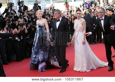 Cate Blanchett,  Rooney Mara, Todd Haynes attend the 'Carol' Premiere during the 68th annual Cannes Film Festival on May 17, 2015 in Cannes, France.