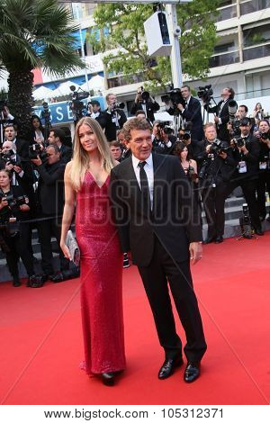 CANNES, FRANCE - MAY 19: Nicole Kempel and Antonio Banderas   attends the 'Sicario' premiere during the 68th annual Cannes Film Festival on May 19, 2015 in Cannes, France