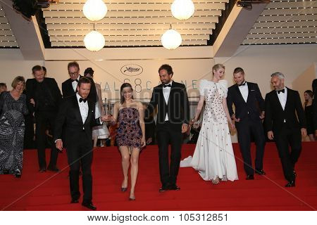 Michael Fassbender, Marion Cotillard and Director Justin Kurzel, Elizabeth Debicki  attend the 'Macbeth' Premiere during the 68th annual Cannes Film Festival on May 23, 2015 in Cannes, France.