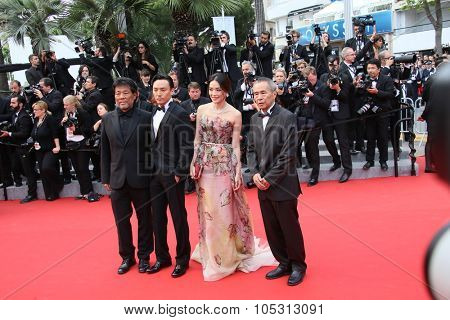 Director Hou Hsiao-Hsien, Chang Chen and actress Shu Qi   attend the closing ceremony during the 68th annual Cannes Film Festival on May 24, 2015 in Cannes, France.