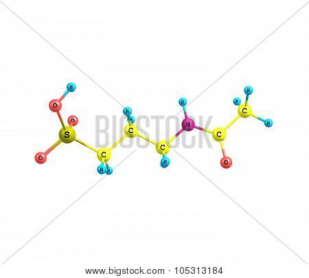 A model of a molecule of Acamprosate also known as Campral. It is used in the treatment of alcohol dependence. 3d illustation