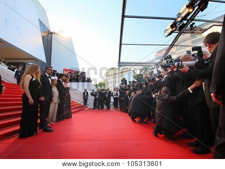 John Turturro, Margherita Bu, Nanni Moretti, Guilia Lazzarini attend the 'Mia Madre' ('My Mother') premiere during the 68th annual Cannes Film Festival on May 16, 2015 in Cannes, France.