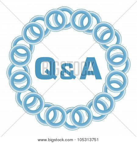 Q And A Text Inside Blue Rings Circular