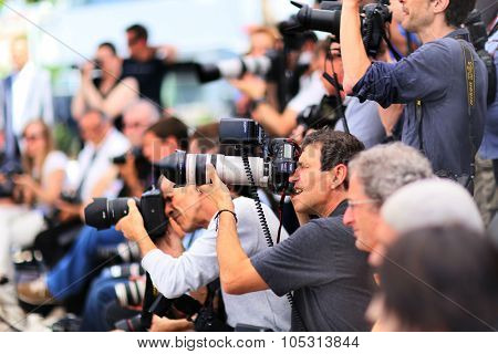 Photographers attend 'Mon Roi' Photocall during the 68th annual Cannes Film Festival on May 17, 2015 in Cannes, France.