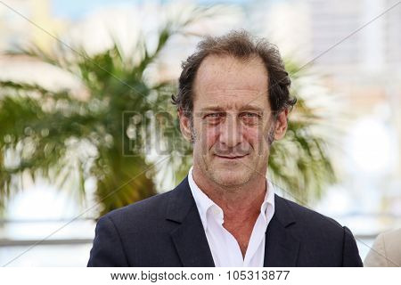 Actor Vincent Lindon attends the 'La Loi Du Marche' ('The Measure Of A Man') Photocall during the 68th annual Cannes Film Festival on May 18, 2015 in Cannes, France.