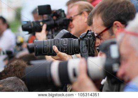 Photographers attend a photocall for 'Dheepan' during the 68th annual Cannes Film Festival on May 21, 2015 in Cannes, France.