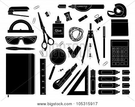 Stationery tools silhouettes