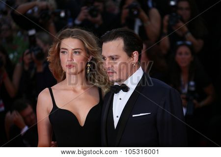 Johnny Depp and Amber Heard attend the premiere of the movie 'BLACK MASS' during the 72nd Venice Film Festival on September 4, 2015 in Venice, Italy.