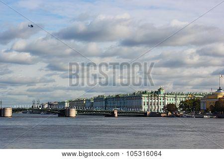 view of the neva, the hermitage, palace bridge