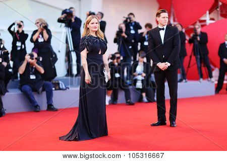 Jennifer Jason Leigh and guest attend a premiere for 'Anomalisa' during the 72nd Venice Film Festival at on September 8, 2015 in Venice, Italy.