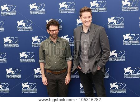 Duke Johnson and Charlie Kaufman (R) attend a photocall for 'Anomalisa ' during the 72nd Venice Film Festival at on September 8, 2015 in Venice, Italy.