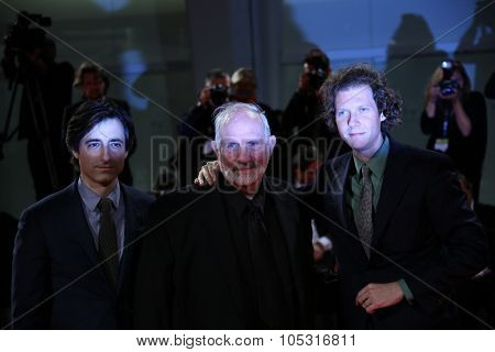 Venice, Italy - 09 September 2015: Jake Paltrow, Brian De Palma and Noah Baumbach attend a premiere for 'De Palma' And 'Jaeger-LeCoultre Glory to the Filmmaker 2015 Award' - 72nd Venice Film Festival