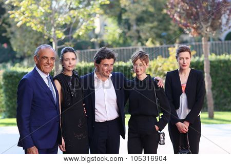 Venice, Italy - 10 September 2015: Stacy Martin, Nicolas Saada and actresses Gina McKee and Alba Rohrwacher  attend a premiere for 'Taj Mahal' during the 72nd Venice Film Festival