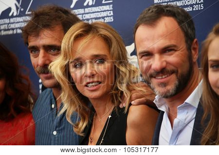 Venice, Italy - 11 September 2015: Valeria Golino, Adriano Giannini,  Massimiliano Gallo attend a photocall for 'Per Amor Vostro' during the 72nd Venice Film Festival