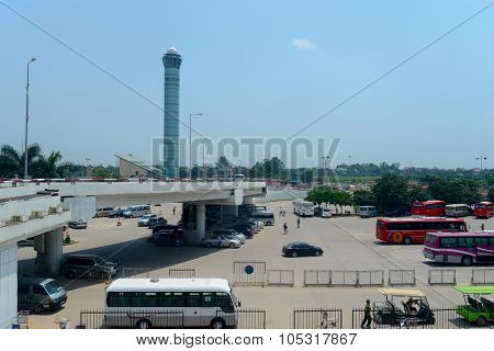 HANOI, VIETNAM - MAY 11, 2015: Noi Bai International Airport control tower. Noi Bai International Airport is the largest airport in Vietnam. It is the main airport serving Hanoi