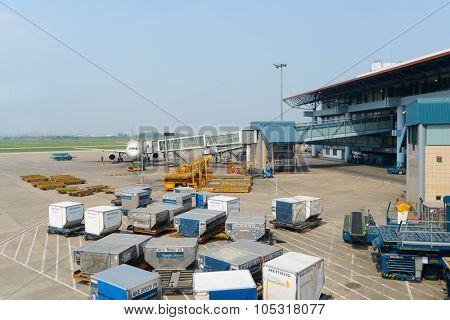 HANOI, VIETNAM - MAY 11, 2015:  Noi Bai International Airport terminal. Noi Bai International Airport is the largest airport in Vietnam. It is the main airport serving Hanoi