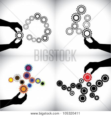 Vector Conceptual Icons Of Gears Together