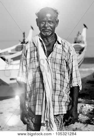 Indian Fisherman Kerala India Solitude Tranquil Concept