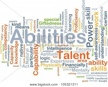Background concept wordcloud illustration of abilities