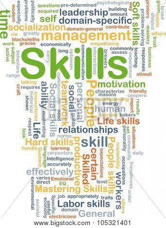 Background concept wordcloud illustration of skills