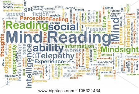 Background concept wordcloud illustration of mind reading