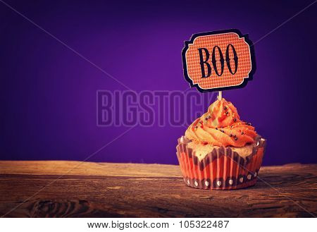 Halloween cupcake with a cake pick