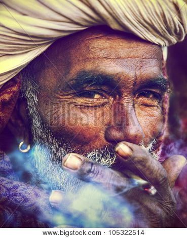 Indigenous Indian Man Smoking Happily Concept