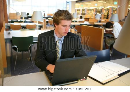 Business Man In Library