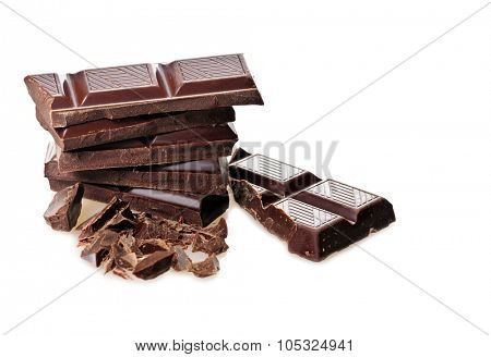 chocolate bars over white background