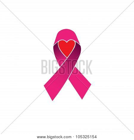 Pink Ribbon, Breast Cancer Awareness Vector Icon Isolated On White Background With Heart Or Love Sym