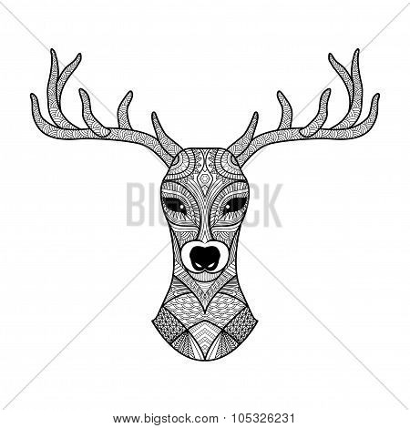 Detailed zentangle deer for coloring page, tattoo, shirt design, logo and so on.