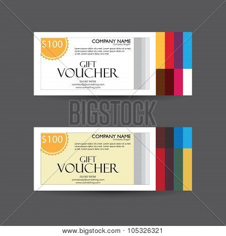 Set of Gift Voucher Vector Template Designs