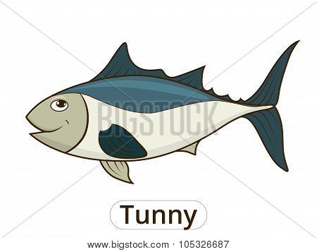Tunny sea fish cartoon illustration for children
