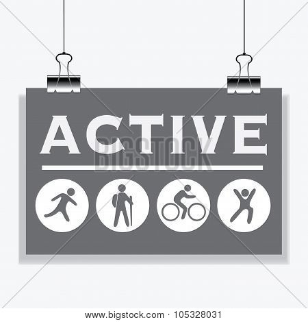 Active People. Banner Hanging On The Clamps