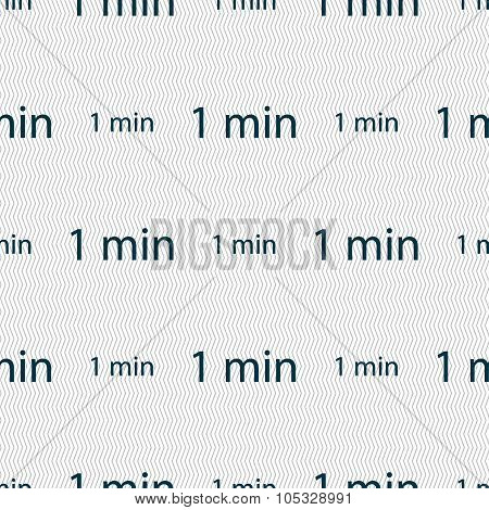 One Minutes Sign Icon. Seamless Abstract Background With Geometric Shapes. Vector